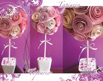 Topiario made with handmade paper flowers