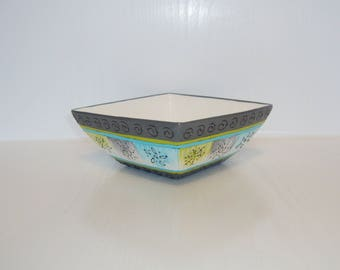small square porcelain bowl blue grey hand painted green and white