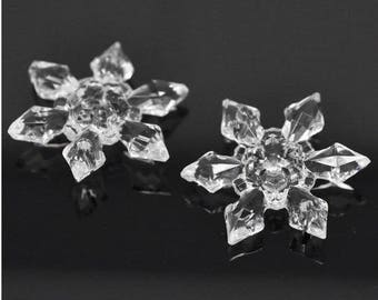 BIG SNOWFLAKES 29x25mm connectors 10 X