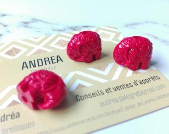 "Set of 3 pretty beads Chinese ""dragon's blood"" / red cinnabar / shape elephant, creating ethnic jewelry, symbolic beads"