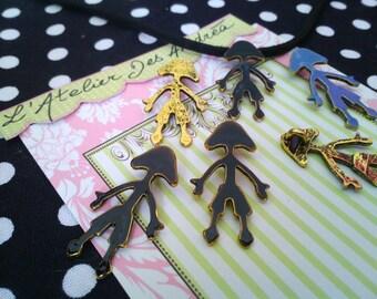 "3 beautiful pendants brass enamel black ""humans"""