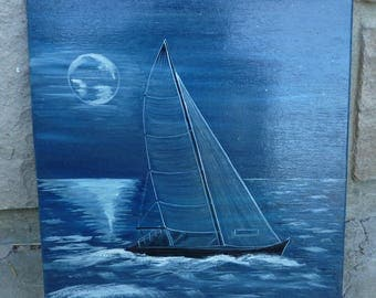 """""""Sailboat at Moonlight"""" blue picture 2"""