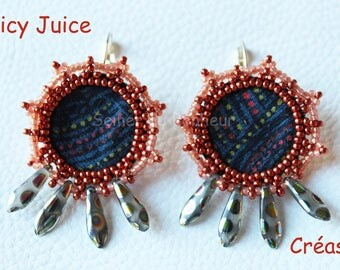 "Liberty fabric ""Spicy Juice"" beaded earrings"