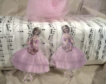 2 gift tags-paper, vintage 12 cm, ballerina with tulle skirt