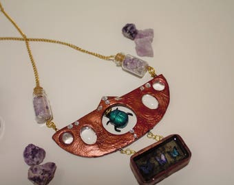 Necklace cabinet of curiosities with Amethyst stones and glass cabochons