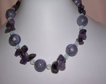 """Magic"" balls necklace amethyst and purple"