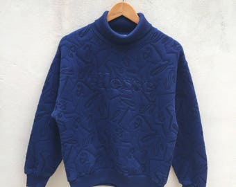 Vintage Ellesse Embroidered Full Pattern Sweatshirt Jumper Pullover Collar Full-neck L Size 90s