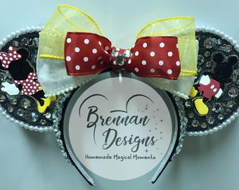 Sparkly Mouse Ears with Classic Black/Red/Yellow/White Mouse Couple Silhouettes, Rinestones and Pearl Details