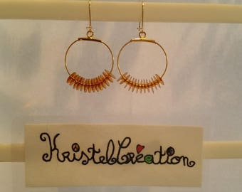 Round gold seed beads and Sequins Golden Earring