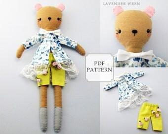 Felt Bear Pattern, Plush Teddy Bear Pattern, Sewing Pattern, Felt Doll Pattern, Doll House Sewing, Doll pdf, Doll Clothing pdf, Toy Doll PDF