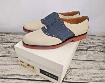 Vintage New Old Stock Made in USA Mens Cole Haan Berkeley Saddle Khaki/Navy - Size 8 US