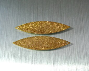 Pair with gold leaf or shuttle, 50 x 12 mm frosted gold, copper pendant shaped hole: 1.2 mm