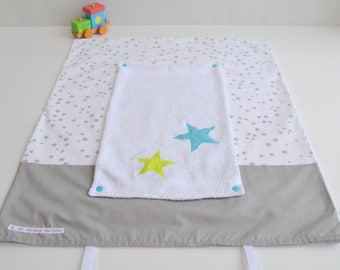 Mattress cover changing towel hand made gray-green star anise and turquoise @lacouturebytitia
