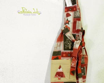 Christmas fabric apron, with Santa Claus, gingerbread houses.