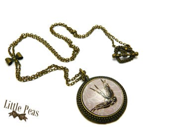 Vintage glass dome swallow necklace