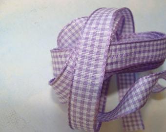 Ribbon 10mm purple gingham 1 m 50