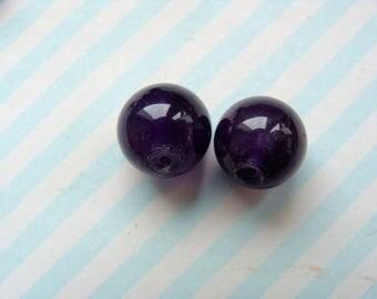 Lot's of 2 genuine 10mm Amethyst round beads