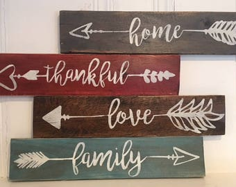 4 Rustic Wood Signs - Love Family Home Thankful Arrow sign - Pallet Sign