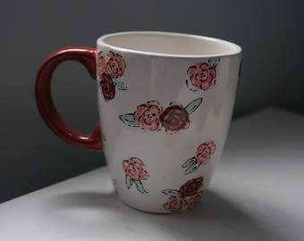 Hand Painted Floral Ceramic Mug