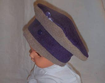 Fleece winter hat (baby - toddler up to 4 years) plum and tapue
