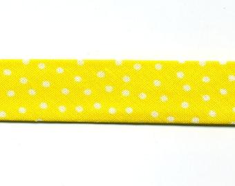 Yellow small polka dot bias