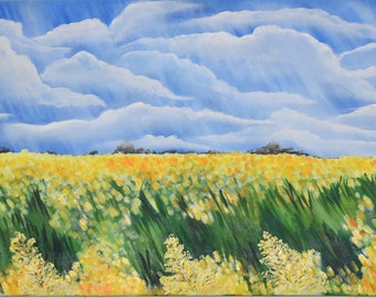 Original large acrylic painting, Lincolnshire Fields in the Spring