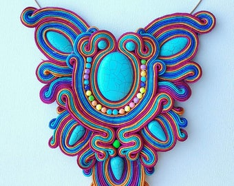 "Soutache necklace ""Rainbow"""