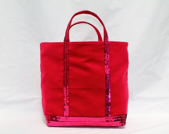 New! The raspberry red velvet Tote has round sequins