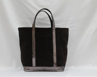 New shopping bag in dark brown dark brown suede with Taupe-gray sequins