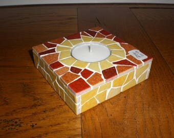 shades of ochre, yellow mosaic Square candle holder