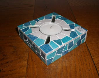 The shades of turquoise, White Square candle holder and mirror