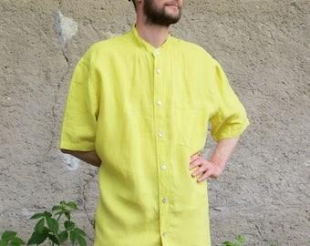 citrus yellow linen Mandarin collar shirt