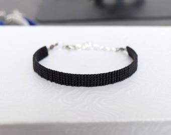 Shiny black woven bracelet