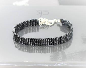 Black chrome hand woven miyuki beads