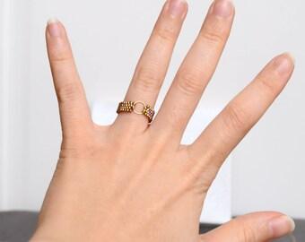 Golden Miyuki beads ring