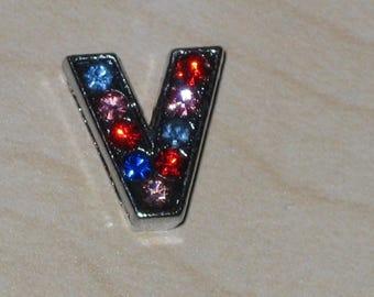 Letter V multicolored rhinestone slide bead