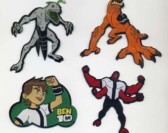 4 large BEN10 fusible badges or sew on Patch Applique