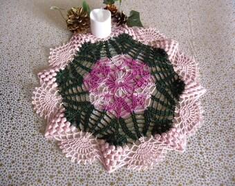 Handmade multicolored cotton crochet lace doily.