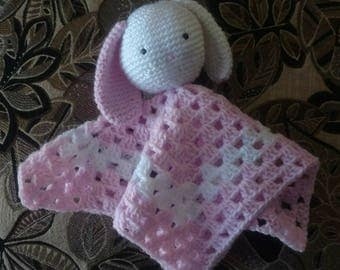 Pink bunny lovey blanket