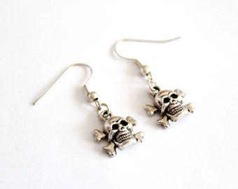 SKULL earrings in silver #1
