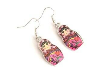 Pink and purple MATRYOSHKA earrings