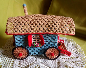 Miniature crochet trailer and a small doily