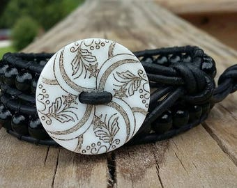 Natural Gemstone, BLACK ONYX Leather Wrap Bracelet ( Double Wrap ) / Handmade / button closure