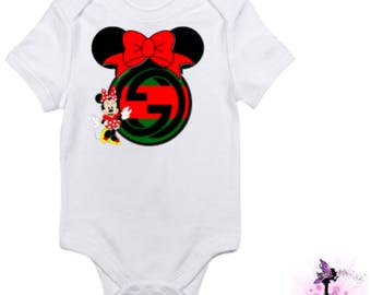 Red and Green Gucci Minnie Mouse [Pose 2] Baby Onesie | Babyshower Gift | First Birthday Outfit | Christmas Outfit | Designer Inspired