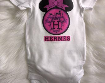 Hermes with or without Minnie or Mickey Mouse Ears Disney Onesie First Birthday Outfit | Babyshower Gift | Designer Inspired