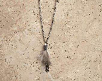 Necklace feathers HIMBA silver antique brass