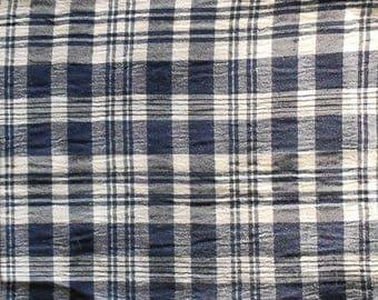 Sail blue checked cotton