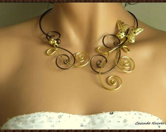 Sarah golden copper Butterfly aluminum Pearl wedding bridal necklace