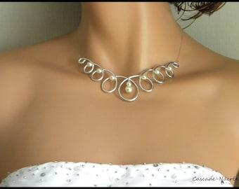 Louna alu ivory swarovski crystal silver Pearl wedding necklace aluminum evening