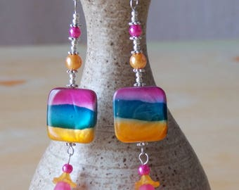 Earrings * pop * sparkling summer - Pop - Pearl and glass